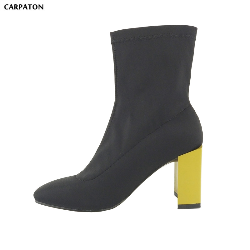 Carpaton 2018 Newest Women Elasticity boots Thick with Fashion set Bare boots Square Toe Square heel boots Classic wild model