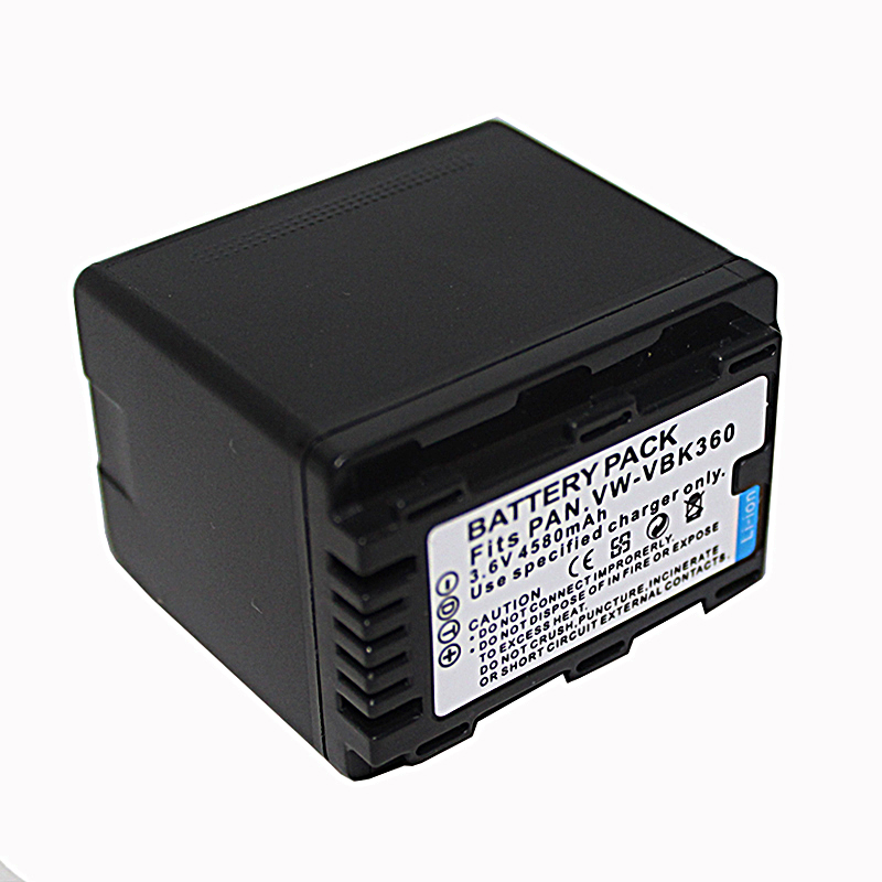 3.6V 4580mAh VW-VBK360 VBK360 Repalcement Battery for Panasonic HDC SD40 TM40 SD80 TM80 HS80 HS60 TM60 SD60 H85 T55 T50 H101 S71
