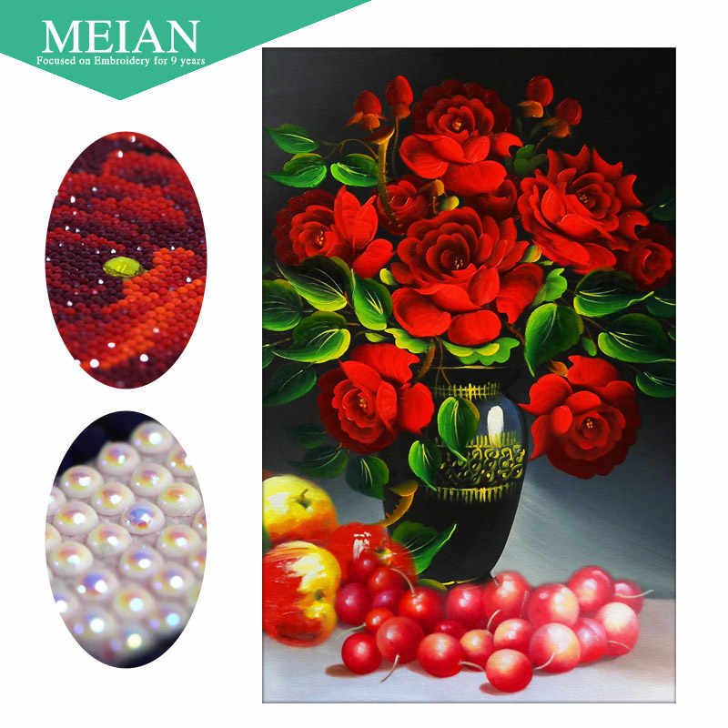 Meian,Special Shaped,Diamond Embroidery,Floral,Ross,5D,Diamond Painting,Cross Stitch,3D,Diamond Mosaic,Decoration,Christmas