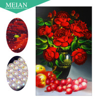 Meian Special Shaped Diamond Embroidery Floral Ross 5D Diamond Painting Cross Stitch 3D Diamond Mosaic Decoration