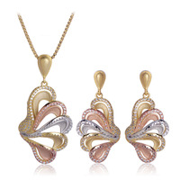 Blucome Butterfly Wings Shape Jewelry Set Pendant Necklace Earrings For Women Gifts 3 Tones Cubic Zirconia Copper Accessories