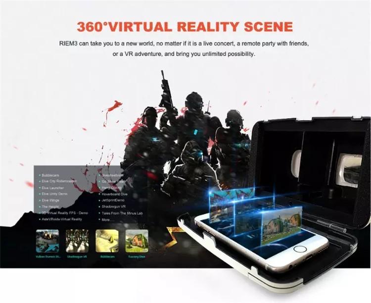 New Ritech III 3D VR Glasses RIEM3 Virtual Reality Head Mount Google Cardboard Oculus Rift DK2 Box for 4.7 ~ 6.0 Inch SmartPhone (1)