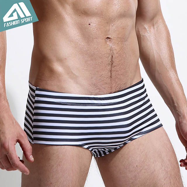 62aae675da placeholder 2018 New Men's Swimwear Low Square Cut Men's Swimming Shorts  Athletic Striped Print Swim Shorts Surf