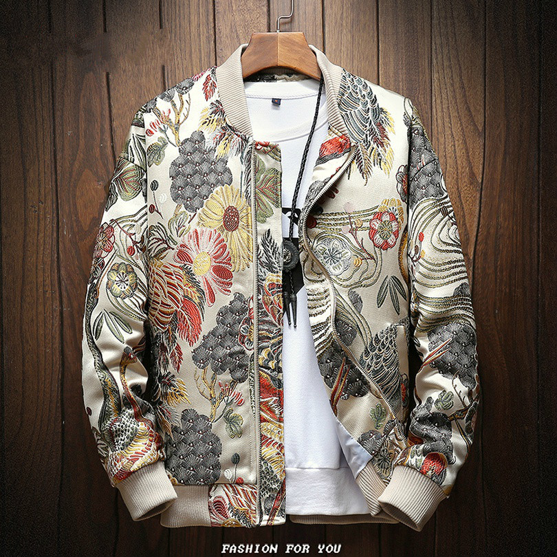 Veste brodée japonaise hommes 2019 Sping nouveau Hip Hop Streetwear Bomber Veste hommes vêtements Veste Homme