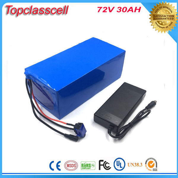 High powerful rechargeable 72v 30ah battery pack for e-bike / motorcycles 72v 3000w lithium ion battery with BMS and charger
