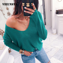 VIEUNSTA Sexy V-neck Off Shoulder Sweater Women 2018 Casual Long Sleeve Ribbed S