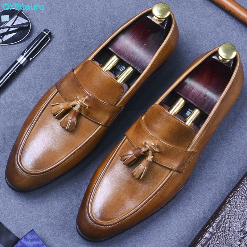 Mens Handmade Tan Tassels Dark Brown Leather Loafers Moccasin Slip Formal Wear