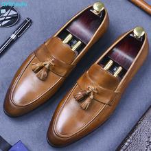 QYFCIOUFU British Man Formal Dress Fashion Tassel Shoes Genuine Leather Handmade Loafers Round Toe Slip On Men's Office Shoes