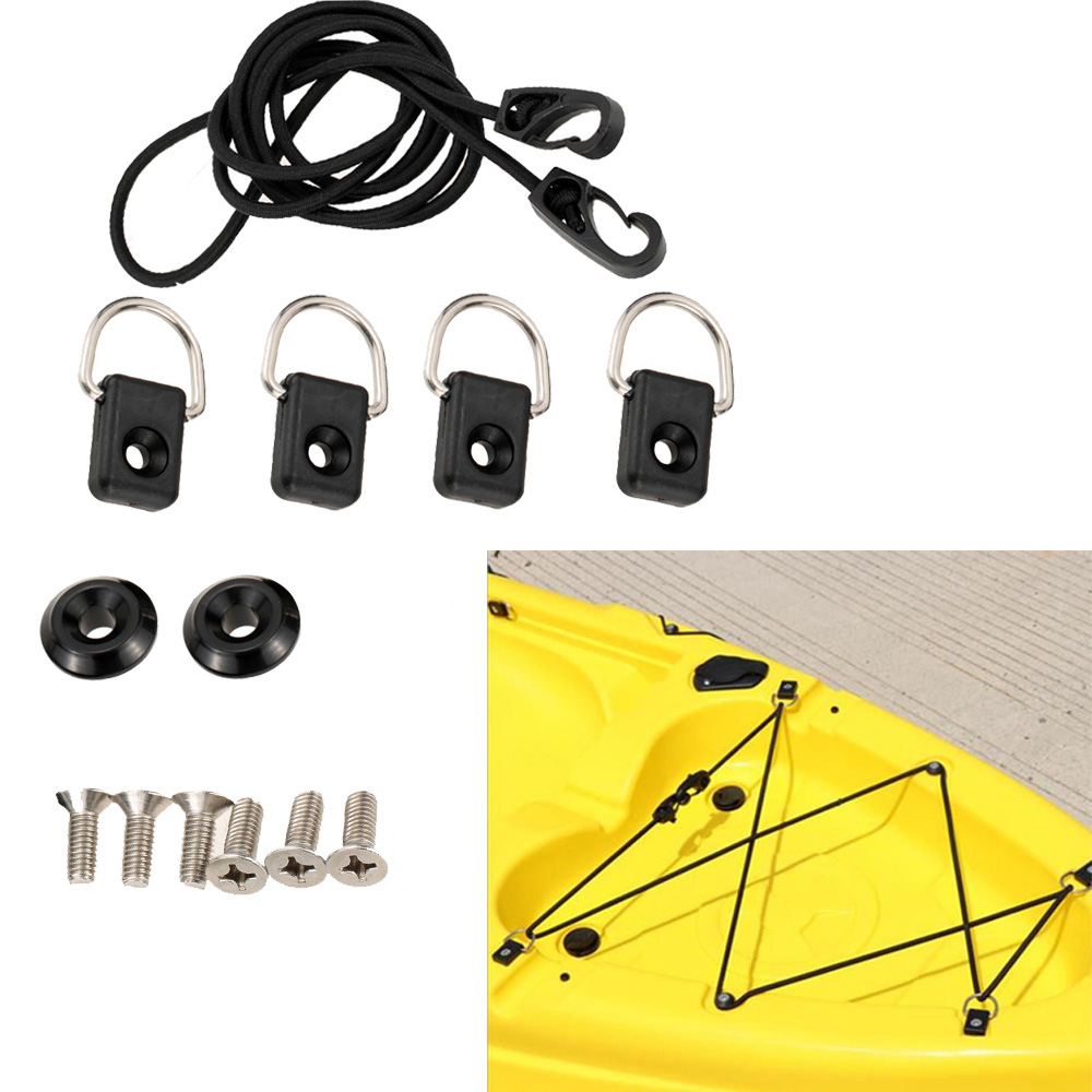 Kayak Canoe Inflatable Boat D Ring Pad Rigging Bungee Deck Fitting Kit White