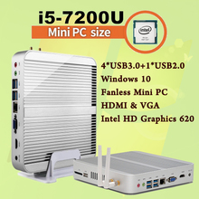 Mini PC [7e поколения Intel Core i5 7200U] Макс 3.1 ГГц Sans ventilateur NUC HTPC Intel HD Graphics 620 gabinete компьютер лучший Win10