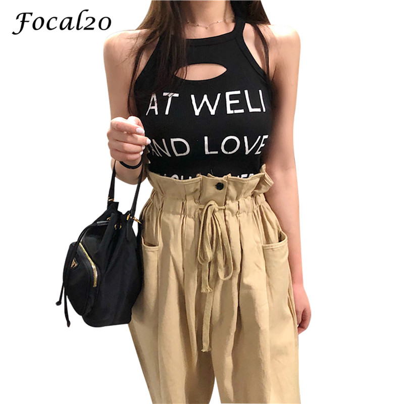 Focal20 Streetwear Hollow Letter Print Halter Women   Tank     Top   Hole Sleeveless Bodycon Sexy Female   Top