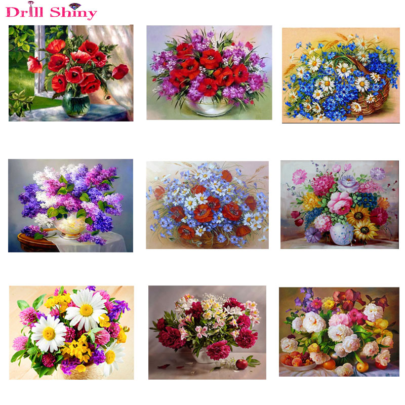 5D Diy Diamond Painting Red Floral Vase Crystal Needlework Diamond Embroidery Flowers Full Round Diamond Decorative Cross Stitch