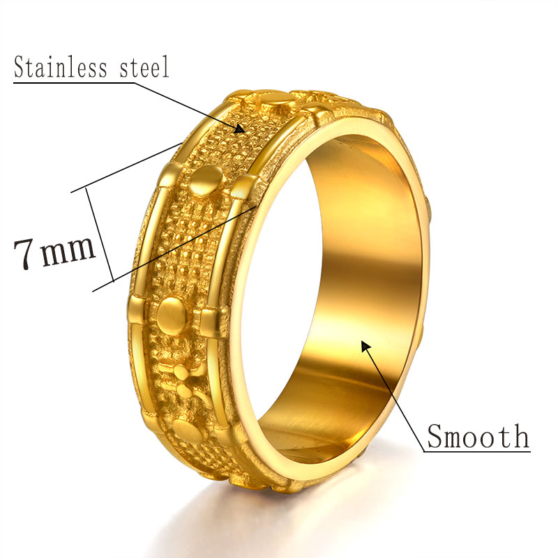Stainless Steel Gold Color Ring Rock&Rol Drums