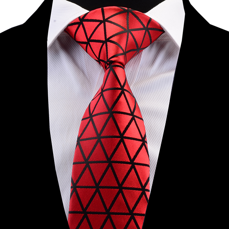 RBOCOTT New Arrival Plaid Neck Ties For Men Fashion Mens Ties 8cm Red Blue Green Black Necktie For Wedding Accessories