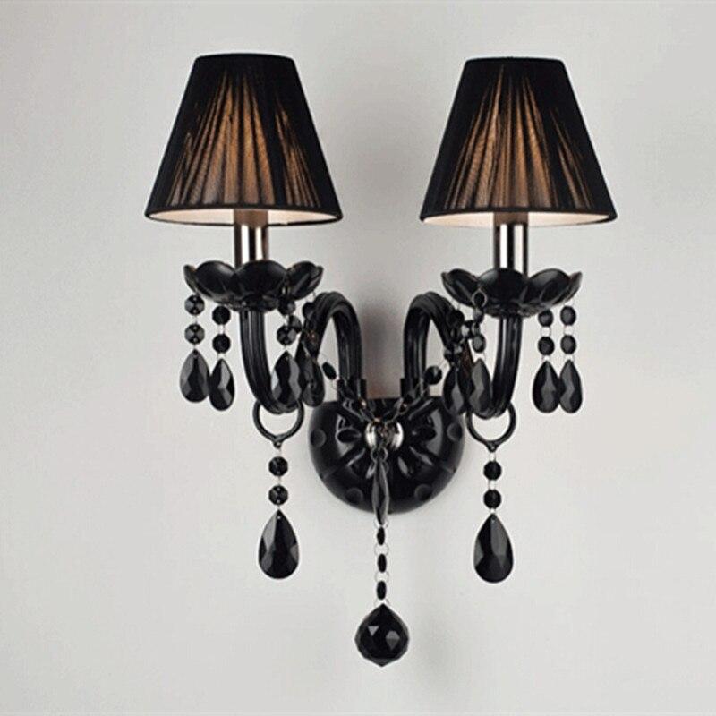 2 lumières noir cristal appliques bougie E14 ampoule Double têtes cristal appliques noir soie tissu abat-jour chambre éclairage