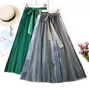 Image 3 - Hiver Vintage velours Patchwork jupe longue femmes taille haute lacets Tutu jupes Femininas Saias Krean Style vêtements