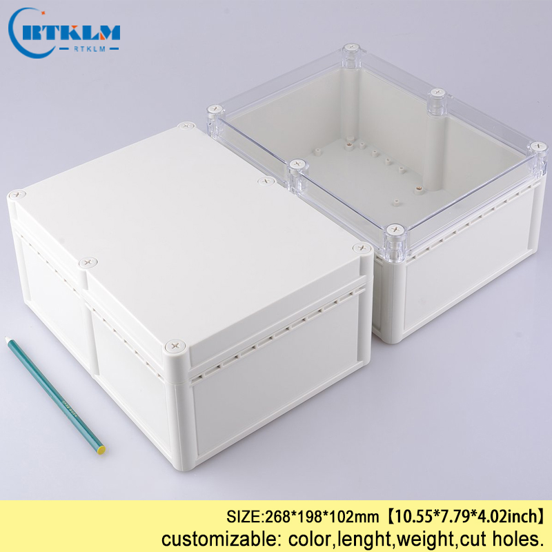 Waterproof junction box transparent for electronic projects circuits abs plastic enclosure box diy instrumen case 268*198*102mm