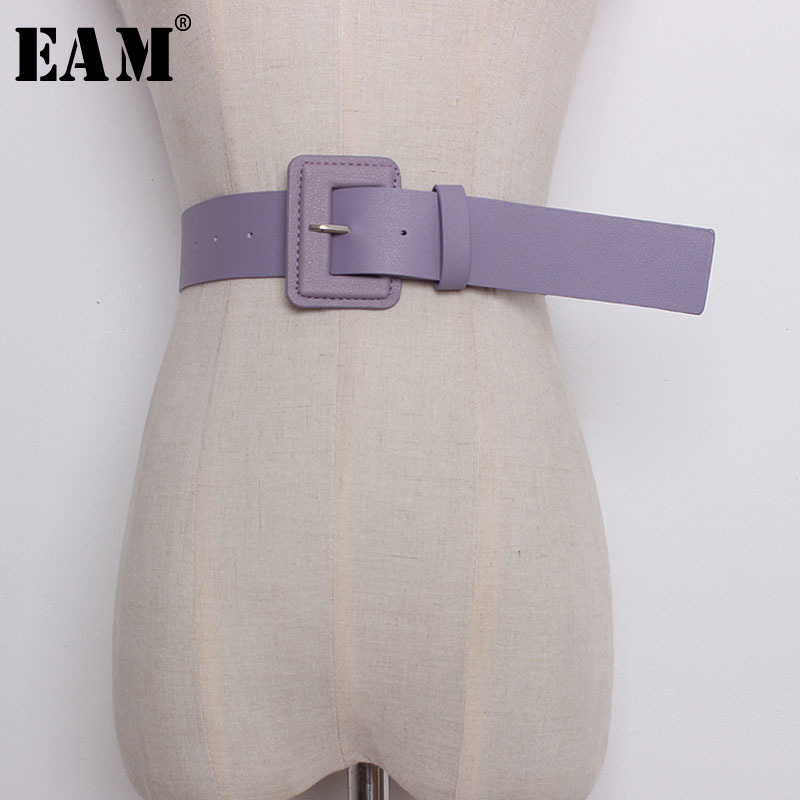[EAM] 2020 New Summer Candy Color Pu Leather Square Buckle Brief Wide Long Belt Women Fashion Tide All-match JF482