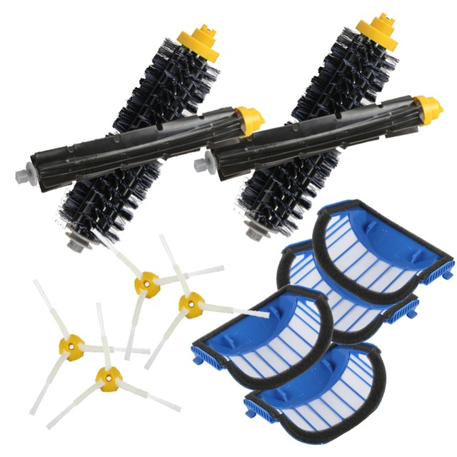4* Blue AeroVac Filter+2set Beater Brush +4*side brush Suitable for replacement iRobot Roomba 600 Series 620 630 650 660 Etc. bristle brush flexible beater brush fit for irobot roomba 500 600 700 series 550 650 660 760 770 780 790 vacuum cleaner parts