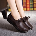 2016 primavera e no outono de moda rendas mãe sapatos fundo macio não-deslizamento sapatos de trabalho pretos sapatos de muffin declive inferior com sapatos casuais