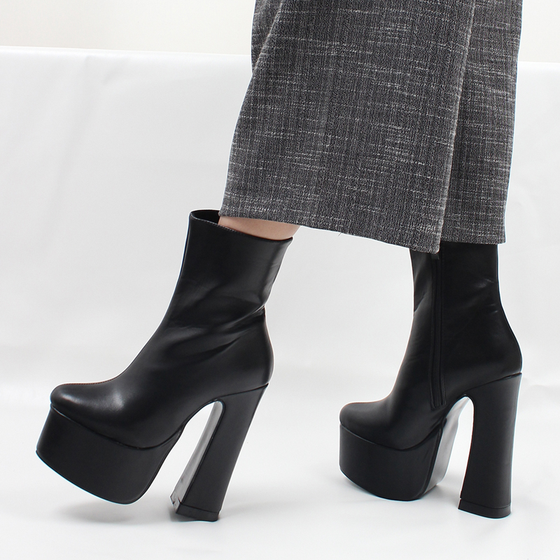 2442f4ab424 jialuowei Women Platform Boots Sexy Gothic 15cm High Block Heel Ankle Boots  Thick Square Heel Pointed