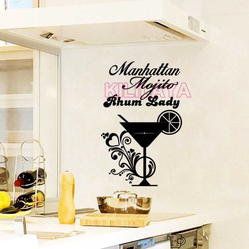 stickers french cuisine cocktails vinyl wall sticker decals mural wall art for kitchen bar tile. Black Bedroom Furniture Sets. Home Design Ideas