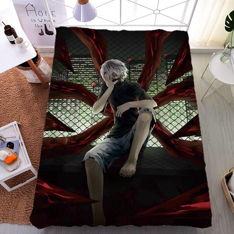 สิงหาคม update ญี่ปุ่นอะนิเมะ Tokyo Ghoul Kaneki Ken & Kirishima Toka เตียงเส้นใยนมแผ่น flannel ผ้าห่มผ้านวมฤดูร้อน 150x200-ใน แผ่น จาก บ้านและสวน บน   1