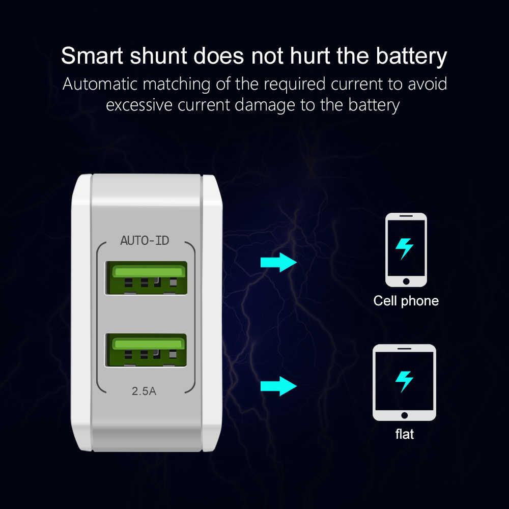 5 فولت 2.5A الذكية السفر المزدوج 2 USB مهايئ شاحن الجدار المحمولة سريع الاتحاد الأوروبي التوصيل الهاتف المحمول شاحن آيفون سامسونج هواوي اللوحي