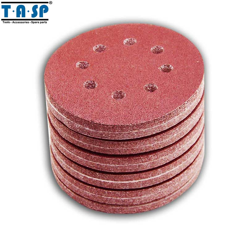 Abrasive Tools Collection Here 100pcs 125mm Hook & Loop Abrasive Sand Paper 5 Inch Red Sanding Disc With 8 Holes Grits 60~2000 Available