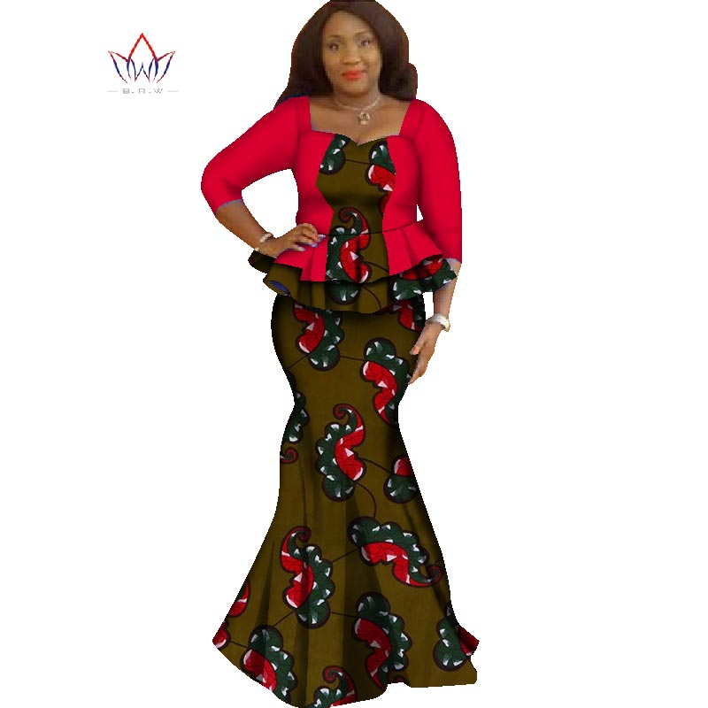 2018 Summer skirt set african designed clothing traditional bazin print  plus size skirt set evening cotton ... bea428c71002