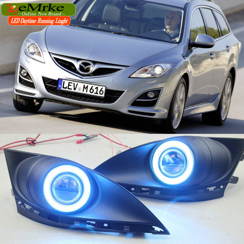 eeMrke For Mazda 6 Atenza (GH) 2nd Gen. COB Angel Eye DRL Daytime Running Lights Halogen H11 55W Fog Lamp Kits eemrke for toyota vios yaris belta 2007 2013 led angel eye drl daytime running light halogen yellow h11 55w fog lights