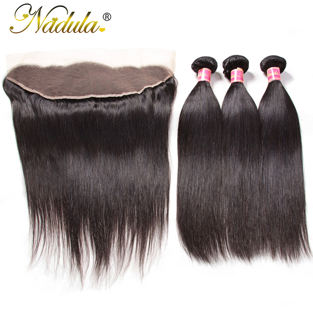 Nadula Hair 3 Bundles With Frontal Peruvian Straight Human Hair Extensions 13 4 lace Closure Remy