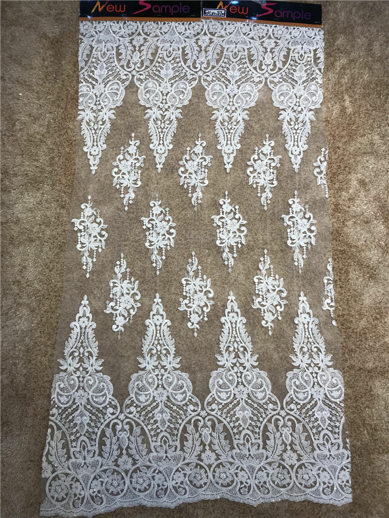 2018 Hot sale African French Lace Fabric With Beads whole piece tulle fabric For Wedding