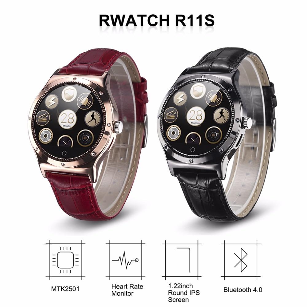imágenes para Reloj inteligente RWATCH R11S Crystal Heart Rate Monitor Podómetro Sedentaria Captura Remota Brújula Llamada/SMS Recordatorio Android IOS
