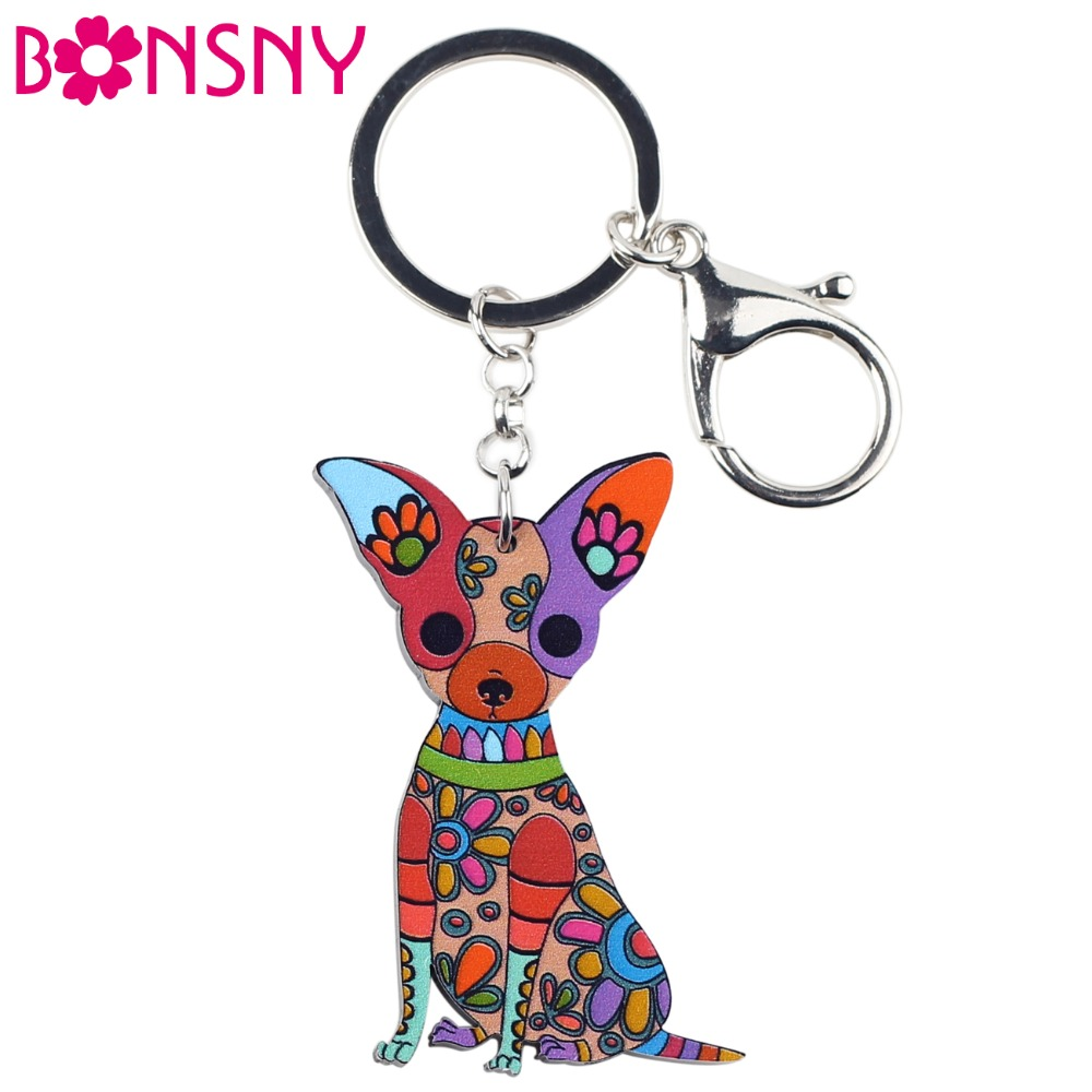 Bonsny Acrylic Dog Jewelry Chihuahua Dog Key Chain Key Ring Pom Gift For Women Girl Bag Charm Keychain Pendant Keyring Jewelry