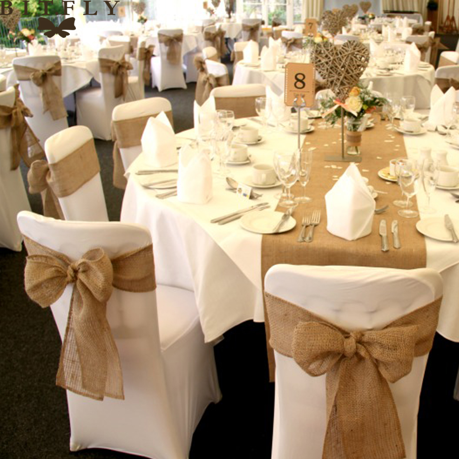 Rustic Theme Wedding Decoration Contain Burlap Chair Sashes Jute Chair Tie Bow Burlap Table
