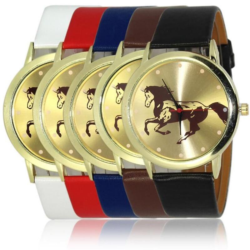 Cartoon Gold Horse Print Blue Leather Strap Sports Ladies Quartz Watch Relojes Hombre 2017 Bayan Saat Women Watches Hodinky B133