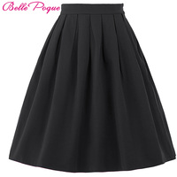 Women Skirt Fashion 2016 Summer High Waist Solid Color Plus Size Elastic Pleated Skirts Black Red