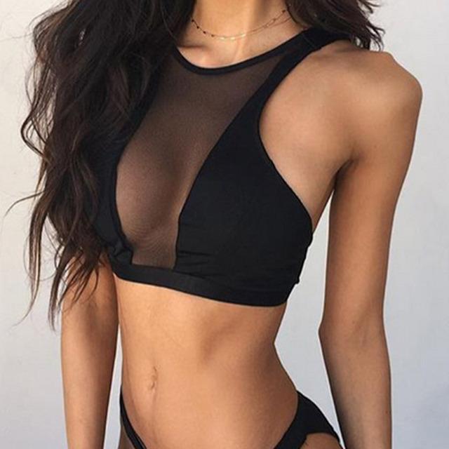 Fashion Women Sexy Bra Mesh Splice Fitness Shake-proof Padded  Push Up Bra Cropped Tops FS99