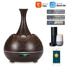 Difusor de aromaterapia de aceite esencial inalámbrico Wifi inteligente con Alexa Google App Control de voz difusor ultrasónico humidificador de 400 ml