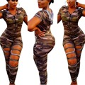 Verão 2017 Bodycon Aptidão Camouflage Uma Peça Macacão Sexy Longo Mulheres Playsuit Macacão Macacão Plus Size Club wear Catsuit