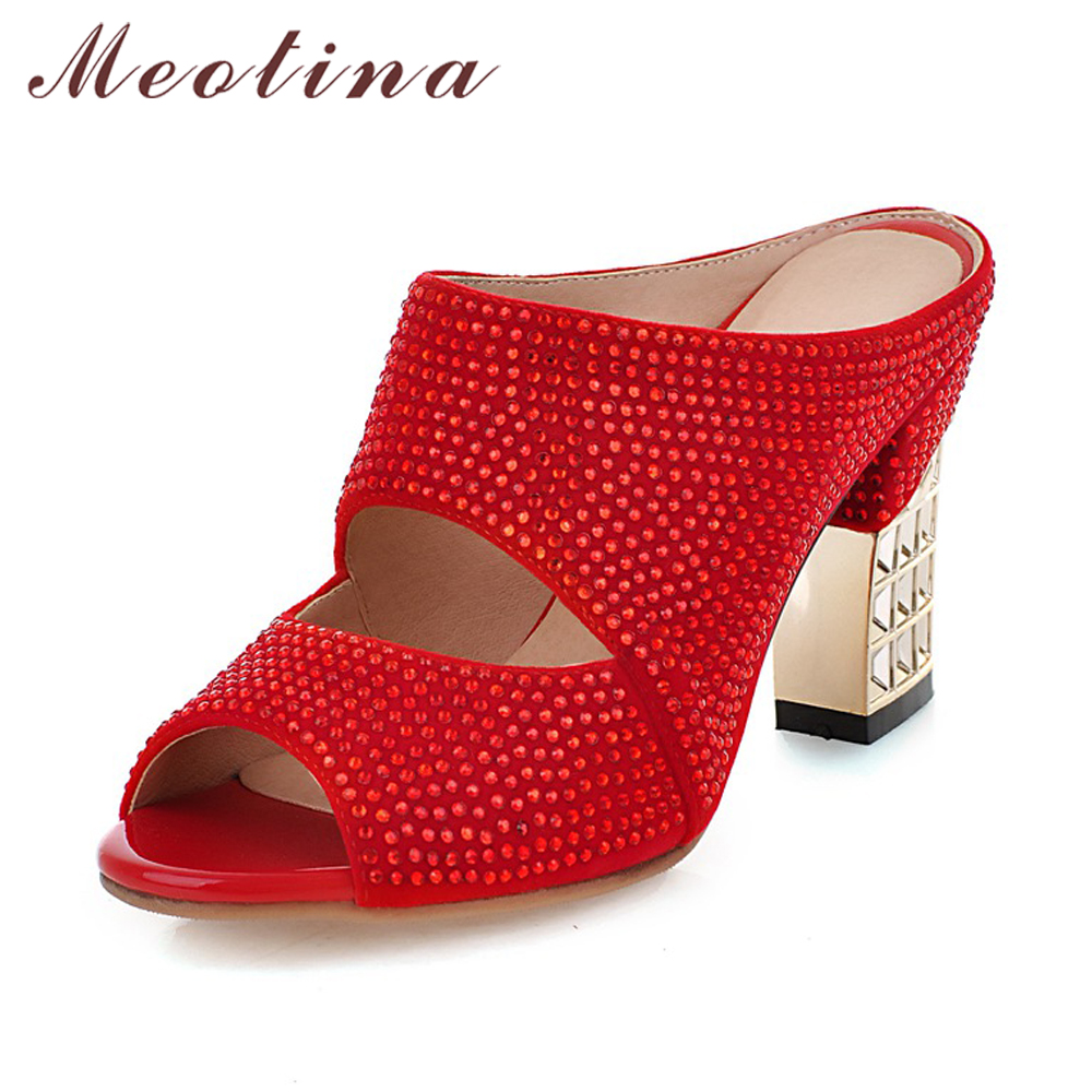 Meotina Promotion Sexy Women Shoes Summer Peep Toe Slides Party Evening Chunky High Heels Slipper Crystal Silver Ladies Slides lanshulan 2017 summer new peep toe women sandals lace sexy mesh platform wedges heels black silver shoes slides slipper