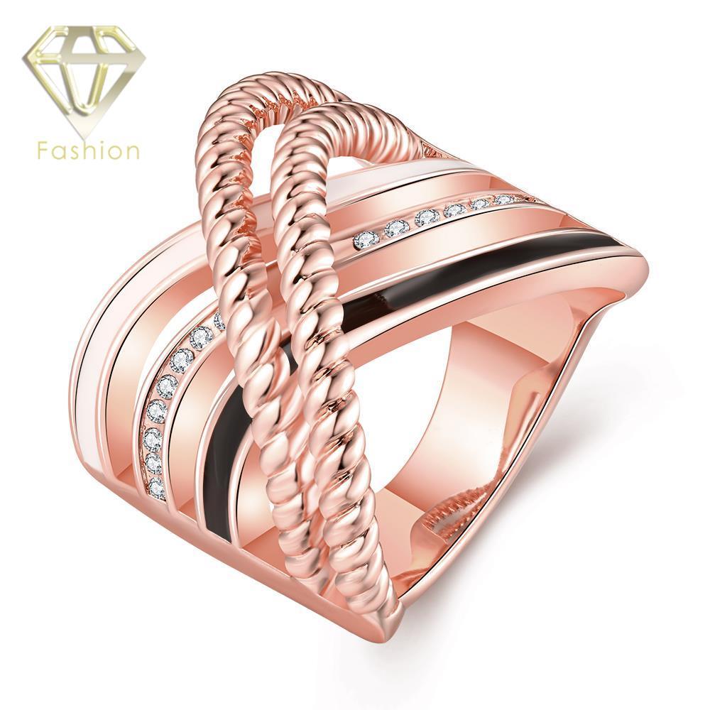 d19524d9db3d Anillos del arco iris de alta calidad oro rosa incrustaciones de color de 3  colores líneas curvas special diseño anillos de la joyería para el partido