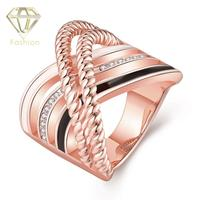 Rainbow Rings High Quality 18K Rose Gold Plated Inlaid 3 Colors Curved Lines Special Design Rings