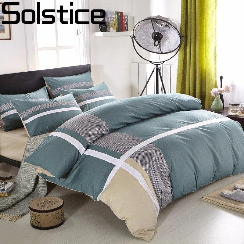 Solstice Home Textile Cross Stripes Style 100 cotton 4pcs Bedding Sets Fashion Casual Bed Linen Quilt
