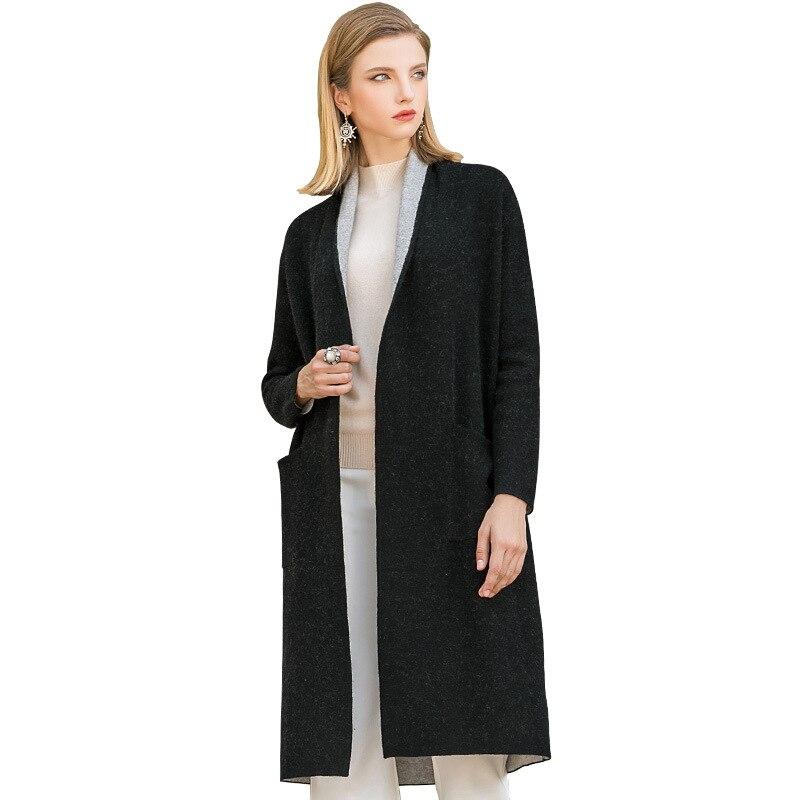 Hiver Col Noir Femmes Face Point Lâche 2018 Laine Ouvrir Droite Nouvelles Écharpe Automne Double Manteaux Longue 57xqv4Za
