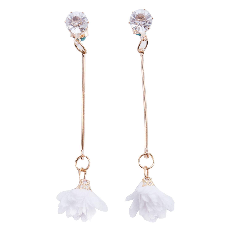 Cute Cloth Flower Long Simple Trendy Alloy,Cloth,Zircon Long Tassel Dangling Cute Earring For Women