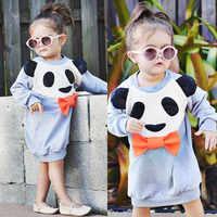 Новые осенние милые толстовки с длинными рукавами платье для малышей Детские платья с рисунком панды на день рождения Повседневная одежда ...