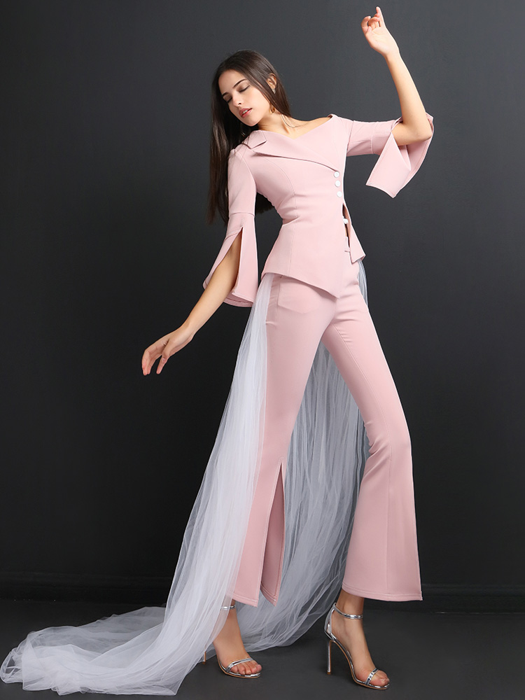 High Quality Women Suits Pants Suit  Office Lady Outfits Femme Two Piece Sets  Jacket Pant With Veil
