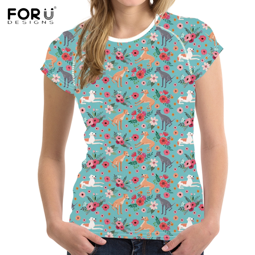 FORUDESIGNS Cute Puppy Greyhound Flower Print Women Summer T Shirts Fashion Short Sleeve Top T-shirts Casual Teen Girls Tees Fit